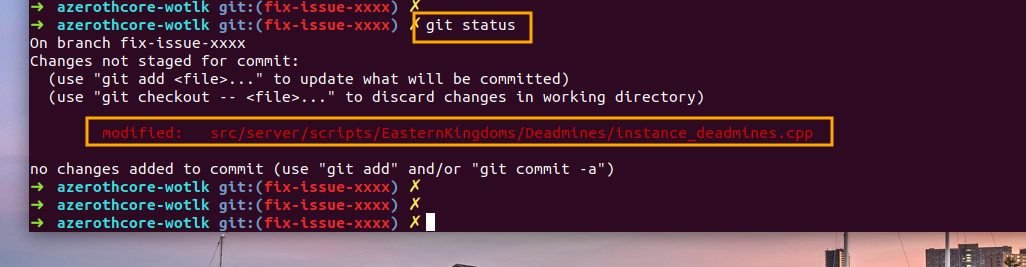 AzerothCore - add files with git add
