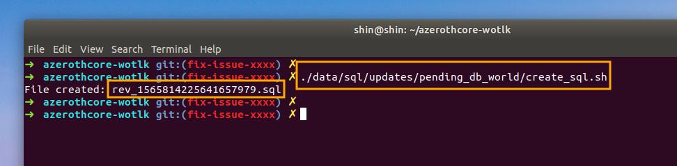 AzerothCore - create pending sql file