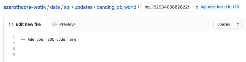 AzerothCore new SQL file example